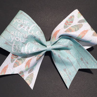 """3in.  Glitter Feather Arrow Cheer Bow with """"your vibe attracts your tribe'"""""""