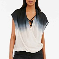 Staring At Stars Surplice Ombre Top- Black & White