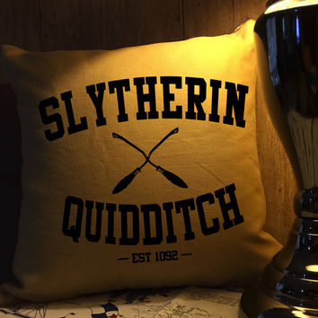 Slytherin quidditch harry potter throw pillow cover
