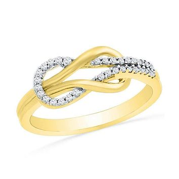 10kt Yellow Gold Women's Round Diamond Double Lasso Infinity Ring 1/6 Cttw - FREE Shipping (US/CAN)
