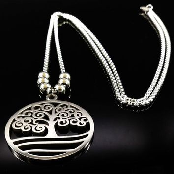 Fashion Tree Of Life Necklace For Women Or Men Silver Color Long BOX Chain Beads Stainless Steel Necklaces Jewelry Gift N176181