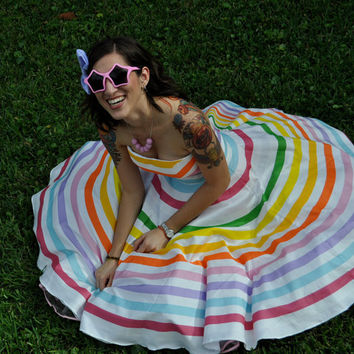 Rainbow Stripe Strapless Prism Dresscustomizable by MissBrache