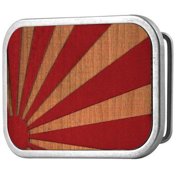 DCCKU3R Rising Sun Red Guilded Wood Belt Buckle