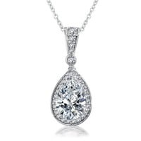 Bling Jewelry 925 Sterling Silver Pear CZ Drop Pendant Bridal Necklace 16in