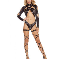Open Criss Cross Romper -Rhinestones Stripper Clothes