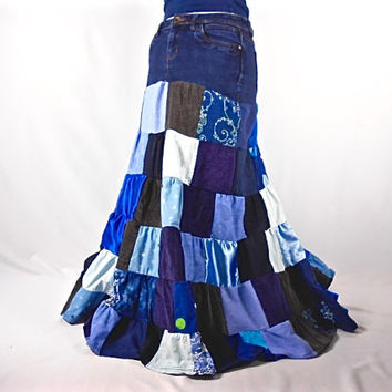 Patchwork Skirt, Upcycled clothing, Hippie Skirt, Festival Skirt, Boho Chic, Hippie Clothes, Bohemian Clothing, Long Skirt, Denim Jean Skirt