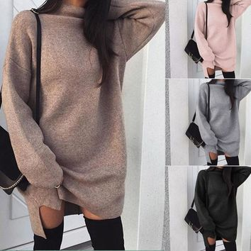 Winter Christmas Fashion Sweater Women Long Sleeve Ladies Turtleneck Knitted Sweater Pullovers Dress Loose Tops Clothes