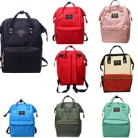Unisex Solid Backpack School Travel Bag Double Shoulder Bag Zipper diaper Bag