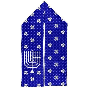 ESBGQ9 Ugly Hanukkah Sweater Big Menorah Warm Fleece Scarf