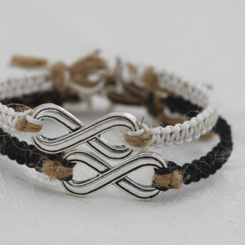 Couples Bracelets Set, Silver Infinity Friendship Bracelets Set, Braided Friendship Jewelry, Anchor Bracelets, Hemp Bracelets, Black White