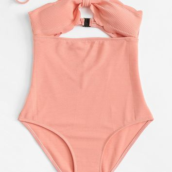 Scalloped Trim Cut-Out Swimsuit