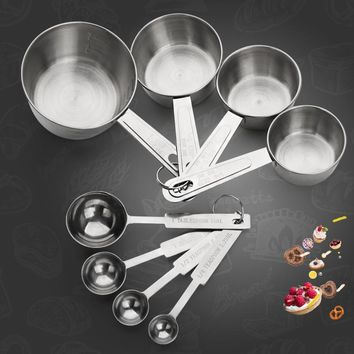 WORTHBUY 4 Pcs/Set Stainless Steel Measuring Cup Kitchen Measuring Tools Sets For Baking Sugar Coffee Graduated Spoons Scoop