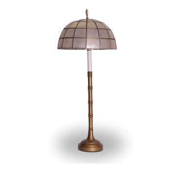 Faux Bamboo Brass with Capiz Shell Shade Table Lamp