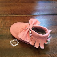 6 to 12 month lt pink bow genuine leather baby moccasin, baby moccasin, moccasin, slippers, kids moccasin, toddler moccasin, moccasins