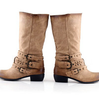 Country Style Burnt Hem and Toe Buckled Summer Boots