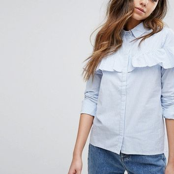 Pimkie Frill Front Stripe Shirt at asos.com
