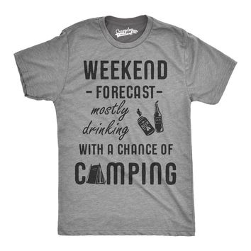 Weekend Forecast Drinking Chance of Camping T-Shirts - Men's Crew Neck Novelty Top Tees