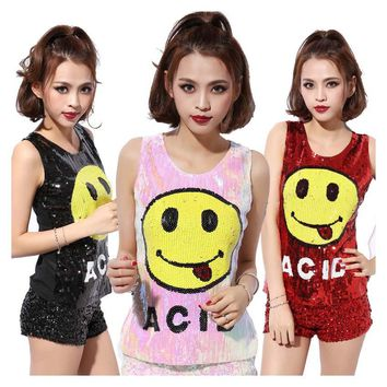 Women Stage Tops Smiling Face Tanks Sequined Sexy Camis Girl Hip Hop clothing Female Costumes Vest jazz Dance Tank Tops