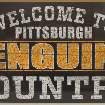 "PITTSBURGH PENGUINS WELCOME TO PENGUINS COUNTRY WOOD SIGN 13""X24'' NEW WINCRAFT"