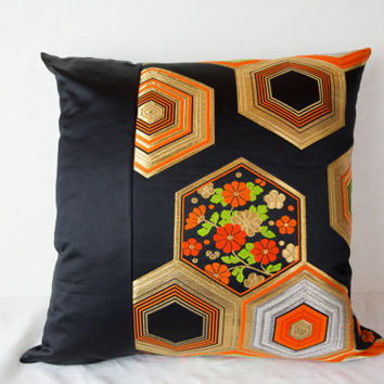 One of a Kind Hexagon Cushion Cover (OOAK Kimono Cushion; Elegant  Hexagon Throw Pillow; Made in Japan; OOAK Hexagon Kimono Pillow)