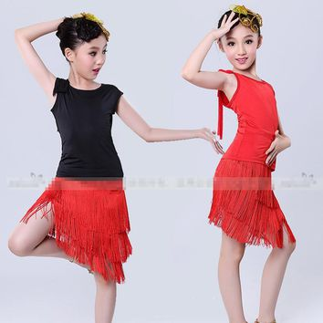 Girl Kids Fringe Latin Dance Dress Children Standard Competition Latin Dancewear Cha Cha Rumba Salsa Stage Performance Costumes