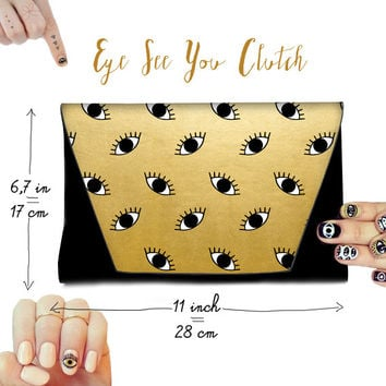 Evil Eye faux Leather Clutch Gold Black Eyes Pattern All-seeing Eye Trendy Cool Purse With Magnetic Snap Closure