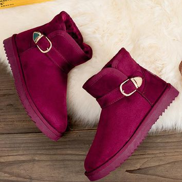 Waterproof snow boots with high-level increase with warm velvet metal button boots Wine red