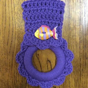 Kitchen towel hanger, oven towel holder, fish, beach, tropical, button towel holder, ocean, hand crochet, handmade, purple, tropical fish