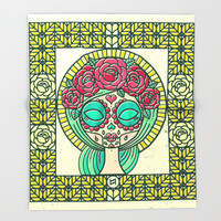 Sugar Skull Girl Throw Blanket by Chobopop