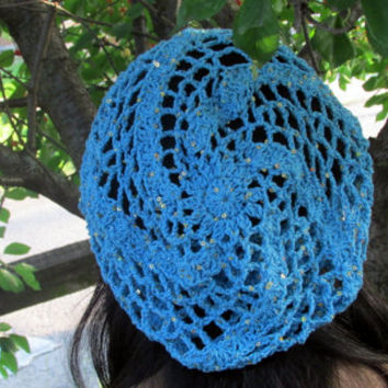 Bohemian Summer Nights Hat, Sequined Hippie Hat, Festival Hat, Turquoise and Purple Sequined Cotton Summer Hat