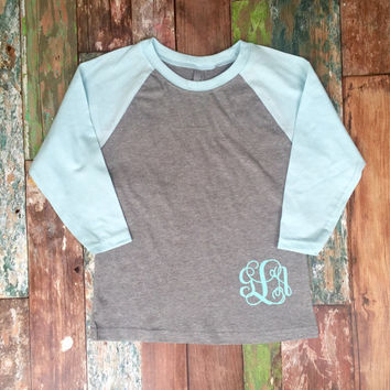 Girls Monogram Raglan Tee Shirt, Youth Monogrammed Raglan T-shirt, Monogrammed Baseball T shirt, Monogrammed Three Quarter Sleeve T shirt