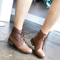 A Lace Up Combat Bootie in Light Brown