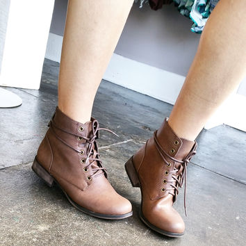 A Brown Lace Up Summer Bootie