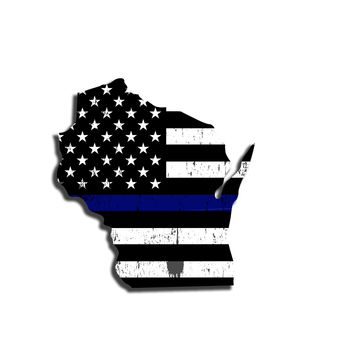 Wisconsin Island Distressed Subdued US Flag Thin Blue Line/Thin Red Line/Thin Green Line Sticker. Support Police/Firefighters/Military