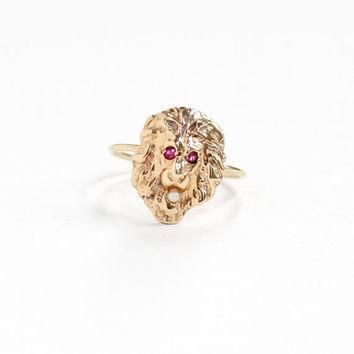 Antique 14k Yellow Gold Lion Motif Ruby & Seed Pearl Ring - Vintage Victorian Figural