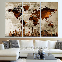 The World of the Wonder Together WORLD MAP Canvas Print on Old Wall - Vintage Large Size World Map Canvas Painting