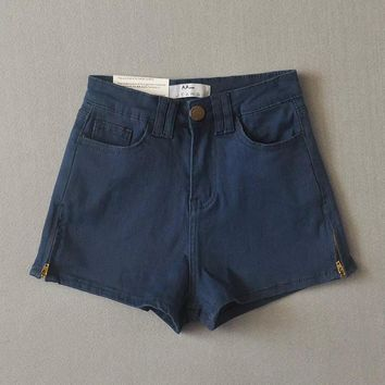 American Apparel All-match Casual Zip High Waist Pack Hip Stretch Denim Shorts Hot Pants Jeans