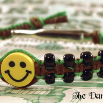 Smiley Face Hemp Bracelet, Hemp Roach Clip Bracelet. Smiley Face Bracelet, Beaded Hemp Bracelet, Hippie Bracelet, Macrame Hemp Jewelry