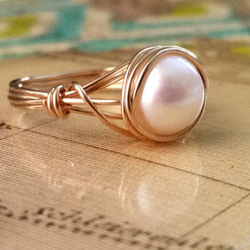 Freshwater Pearl Ring, Pearl Jewelry, Wire Wrapped Ring, June Birthstone, 14kt Gold-Filled Ring