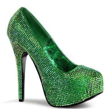 Teeze Green Satin Iridescent Platform Pump by Bordello Shoes