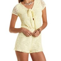 Yellow Tie-Front Lace Romper by Charlotte Russe