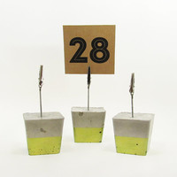 Photo Holders, Green Place Card Holder, Cement Photo Holder, Table Number Holder, Modern Table Number Stand, Table Number Signs - Set of 3