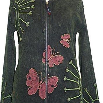 RJ 354 Agan Traders Nepal Hand Crafted Butterfly Bohemian hoodie Jacket.