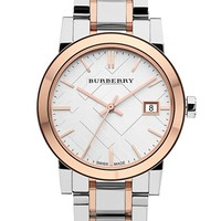 Women's Burberry Medium Check Stamped Bracelet Watch, 34mm - Silver/ Rose Gold