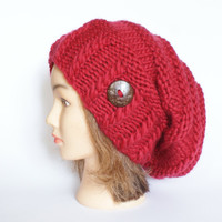 Slouchy beanie hat red wool slouch hats beanies chunky knitted hat women accessory button Irish handknit