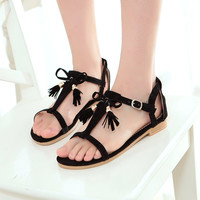 Fashion Flats Sandals Women Shoes with Tassel 3808