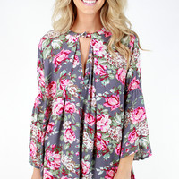 Fabulous Floral Trapeze Dress - Grey