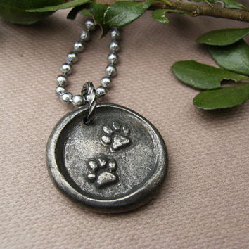 Pet Lover's Necklace, My Kids Have Fur, Pewter Paw Pendant, Dog Lover, Cat Lover, Rustic, Casual, Reversible, Statement Jewelry, Gift Idea