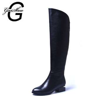 Women Black Knee High Boots Genuine Leather Long Boots 2016 Autumn Winter Ladies Fashion Warm Chunky Heel Work Boots Snow Shoes