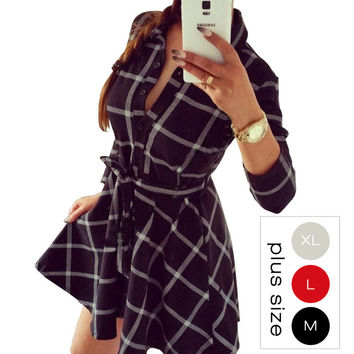 Vintage Women Plaid Dresses Long Sleeve Dress Plus Size With Belt Work Office Business Casual Woman Dress Vestidos Multi Colors